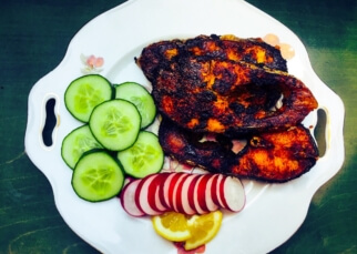 Spicy shallow fried fish steaks